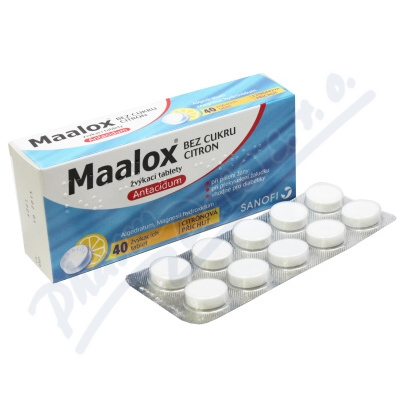 Maalox bez cukru Citron por.tbl.mnd.40