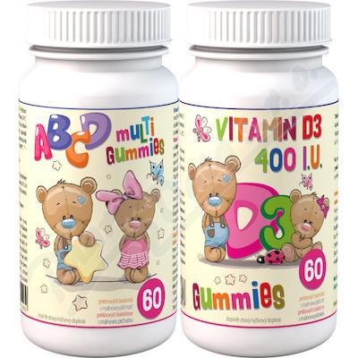 ABCD Multi Gummies+D3 Gummies 2x60 pektin.bonbon.