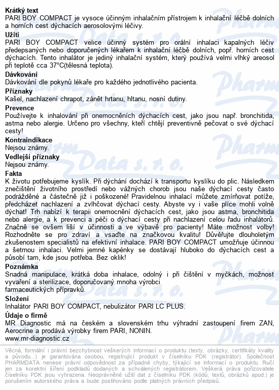 PARI BOY Compact kompres.inhalátor+příslušenství