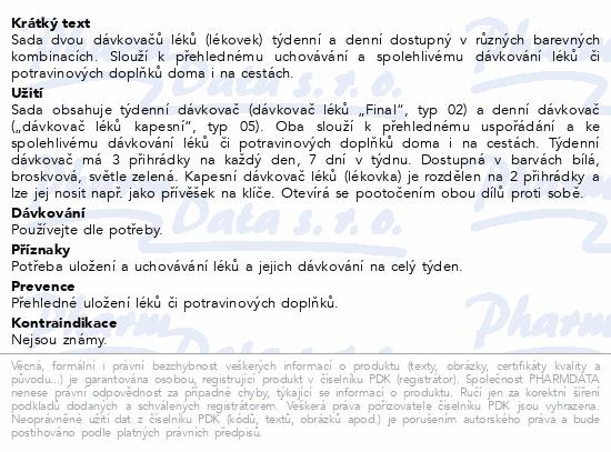 Dávkovač léků OBZOR SET 02 broskvový + 05 kapesní