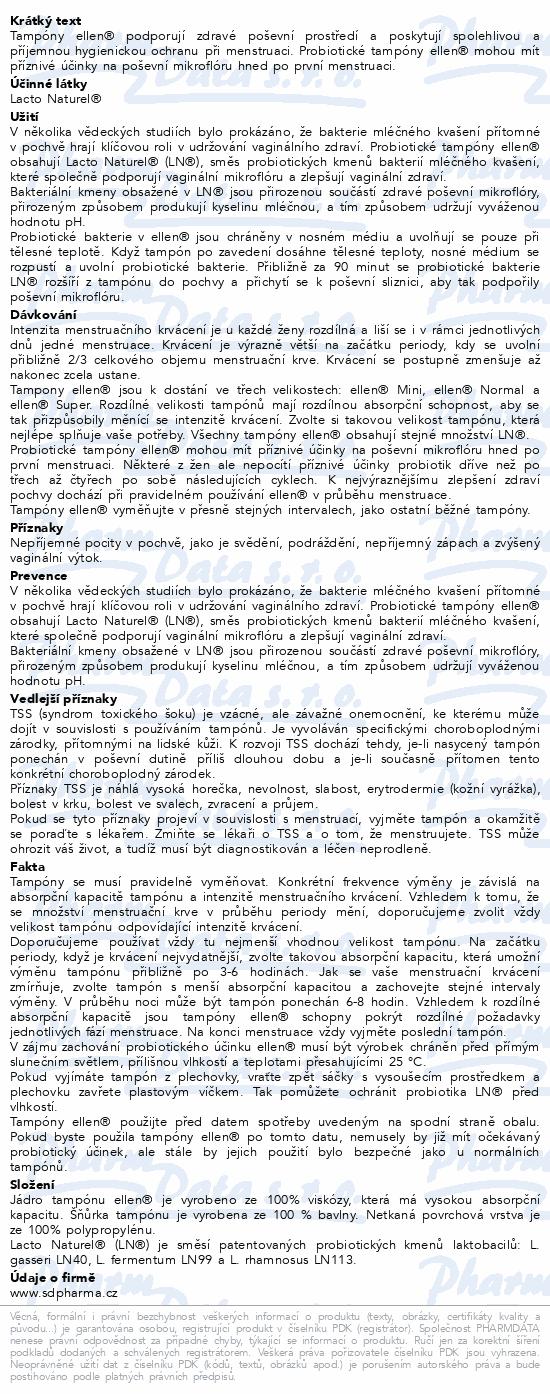 Probiotické tampóny ellen - Mini 14 ks