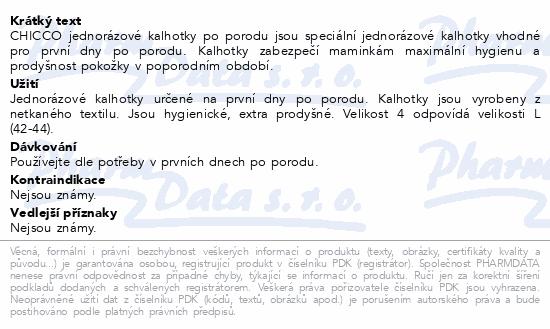 CHICCO Kalhotky jednorázové po porodu vel.4/4ks