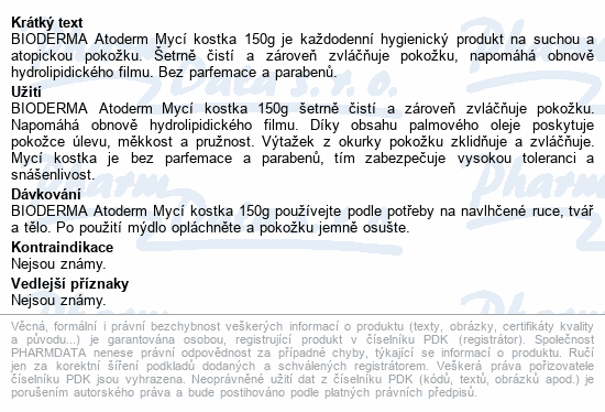 BIODERMA Atoderm Intensive mycí kostka 150g