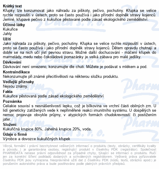 Kukuřično-Jahelné křupky 60g