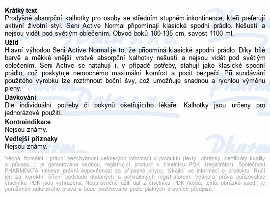 Seni Active Normal Large ink.plen.kalhotky 10ks