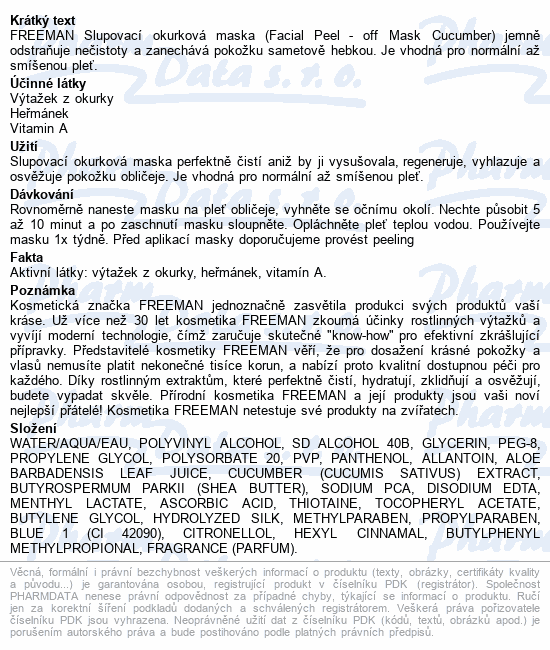 FREEMAN maska pleť.slupovací okurková 15ml