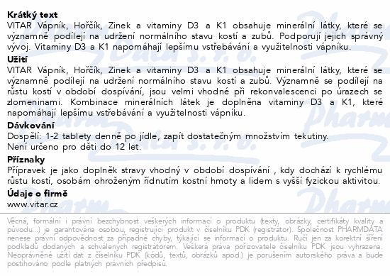 Vitar/Rev.Vápník+hořčík+zinek+vit.D3+K1 tbl.100+50