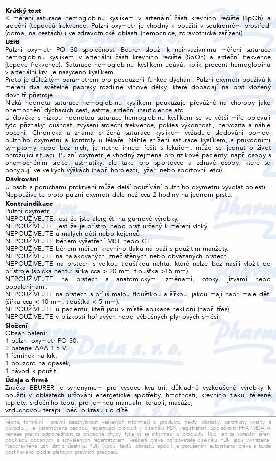 Pulzní oxymetr Beurer PO 30