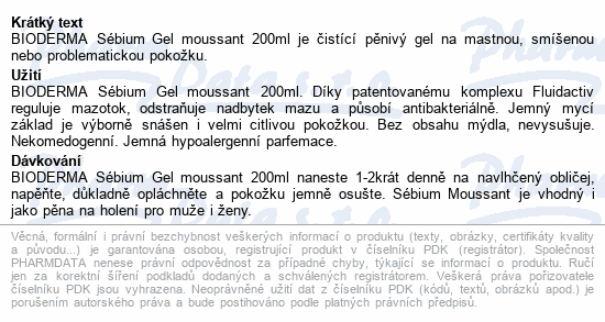 BIODERMA Sébium Gel moussant tuba 200ml