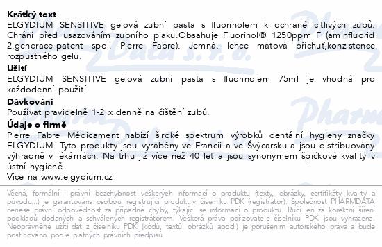 ELGYDIUM Sensitive zub.pasta gelová+fluorinol 75ml