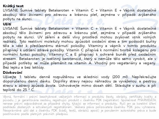 LIVSANE Šumivé tablety Betakaroten + Vápník 20ks