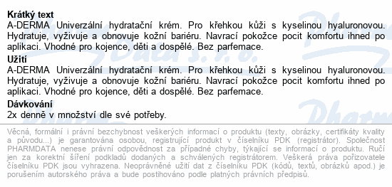 A-DERMA Univerzální hydratační krém 150ml
